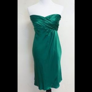 Banana Republic 100% Silk Emerald Green Dress